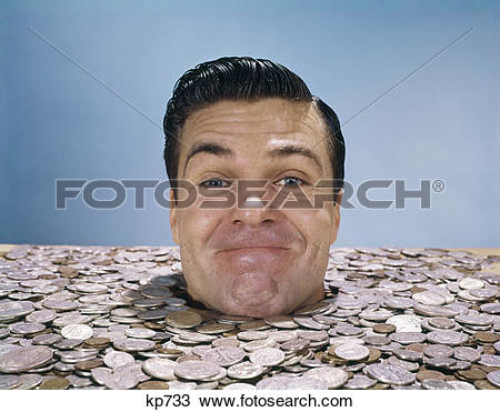 Stock Photo of 1960S Man Buried Up To His Neck In Coins Money.