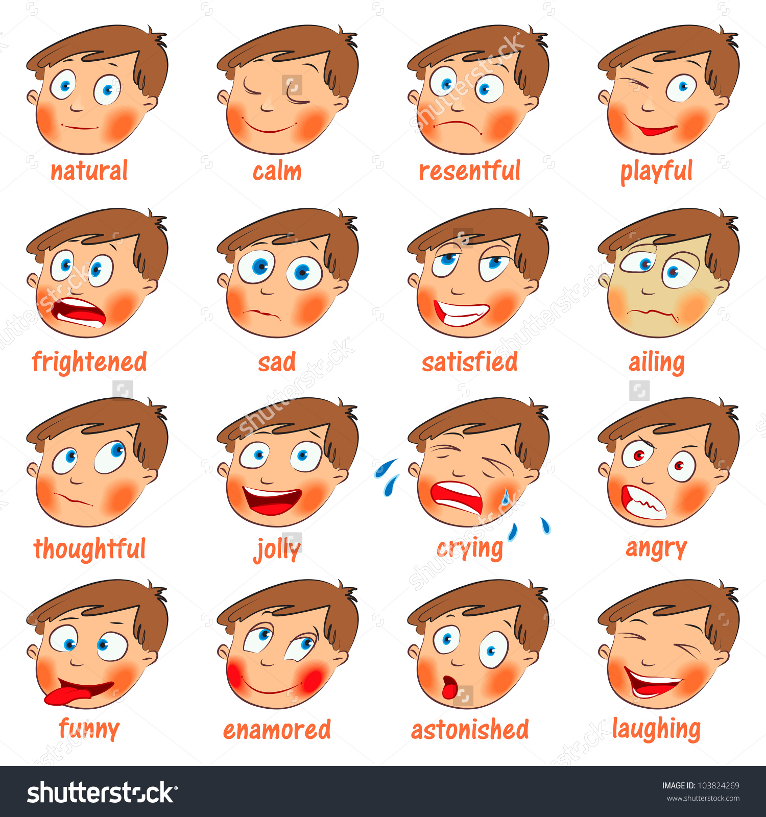 Emotions Cartoon Facial Expressions Set Natural Stock Vector.