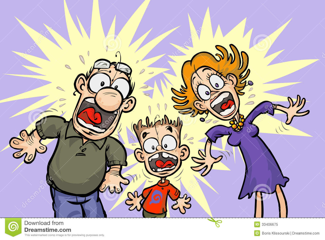 Funny Shocked Family. Royalty Free Stock Photo.