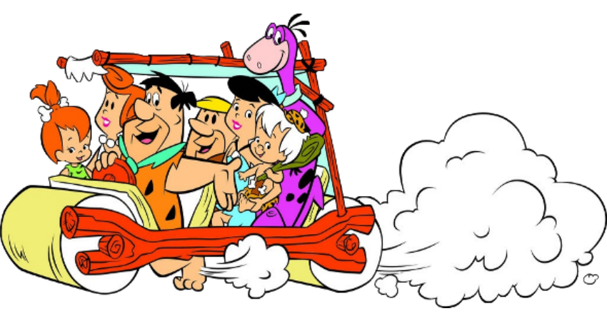 Flintstones and Rubbles in the family car.