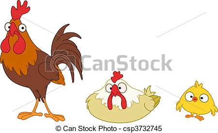 Clipart Vector of Chicken family.