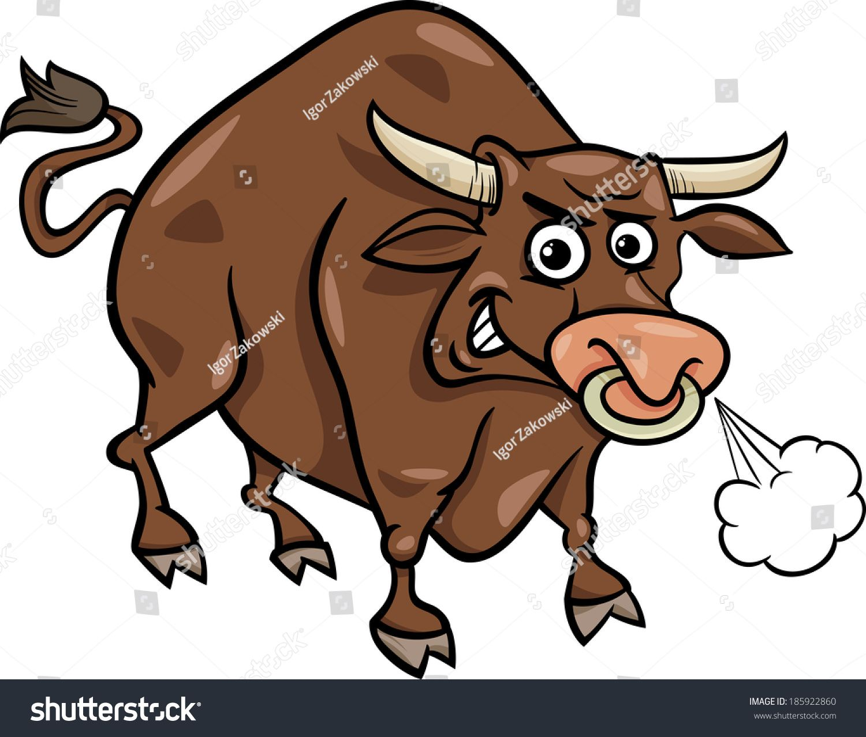 Cartoon Vector Illustration of Funny Farm Bull Animal.