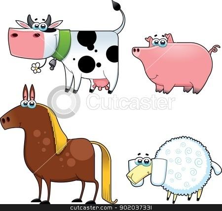 Funny farm animals. stock vector.