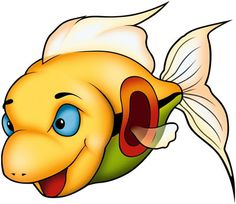 Cute and funny cartoon fish with huge eyes. Stock Photo.