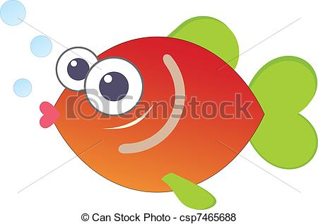 EPS Vector of Cartoon Funny Fish, Sea Life Doodle linear.