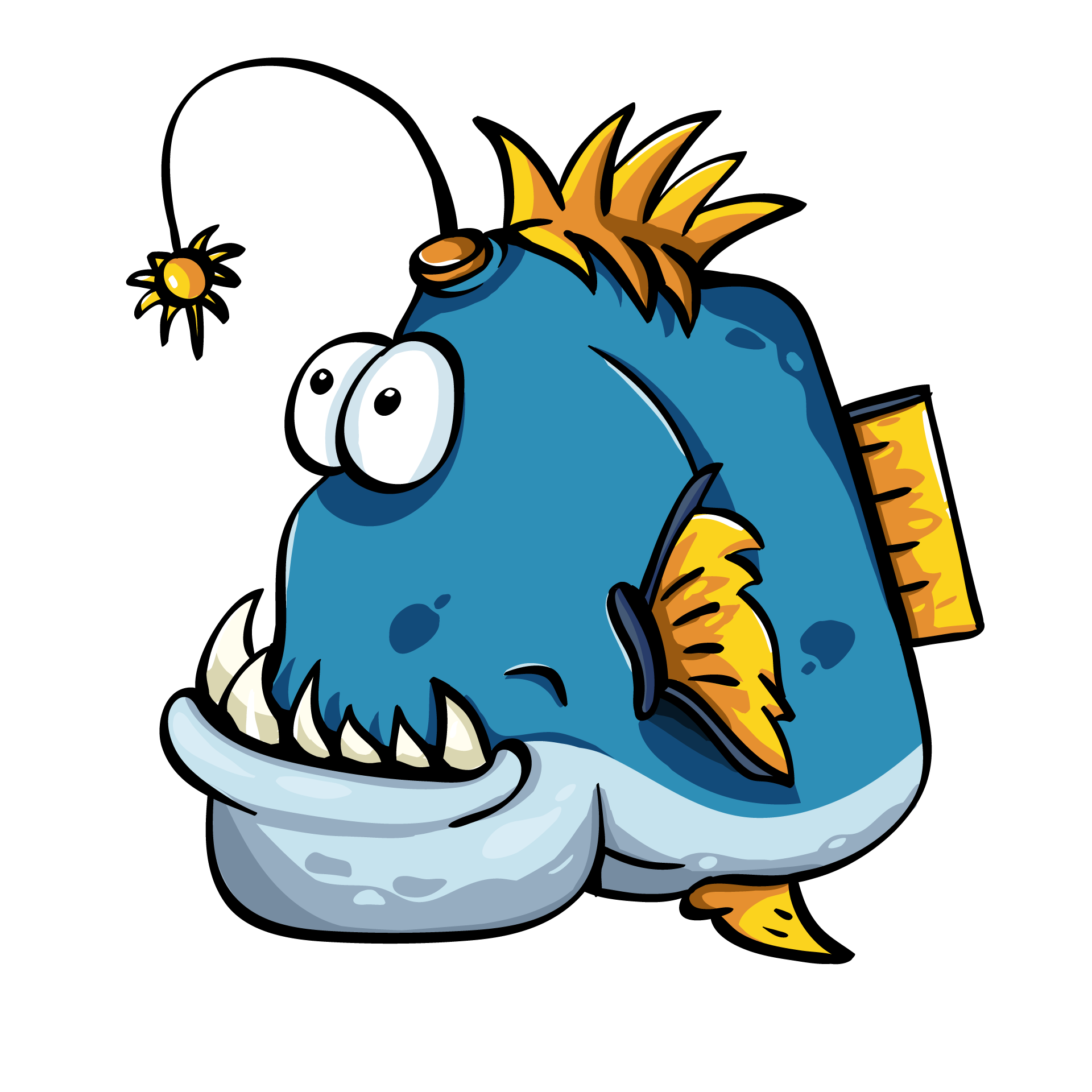 Blue angler fish. Funny animals clipart.