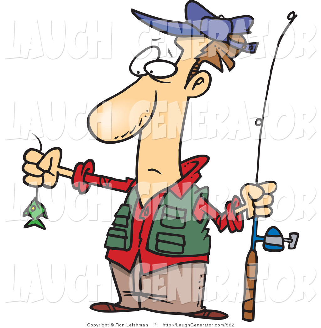 Humorous Clip Art of a Disappointed Fisherman Looking at a Very.