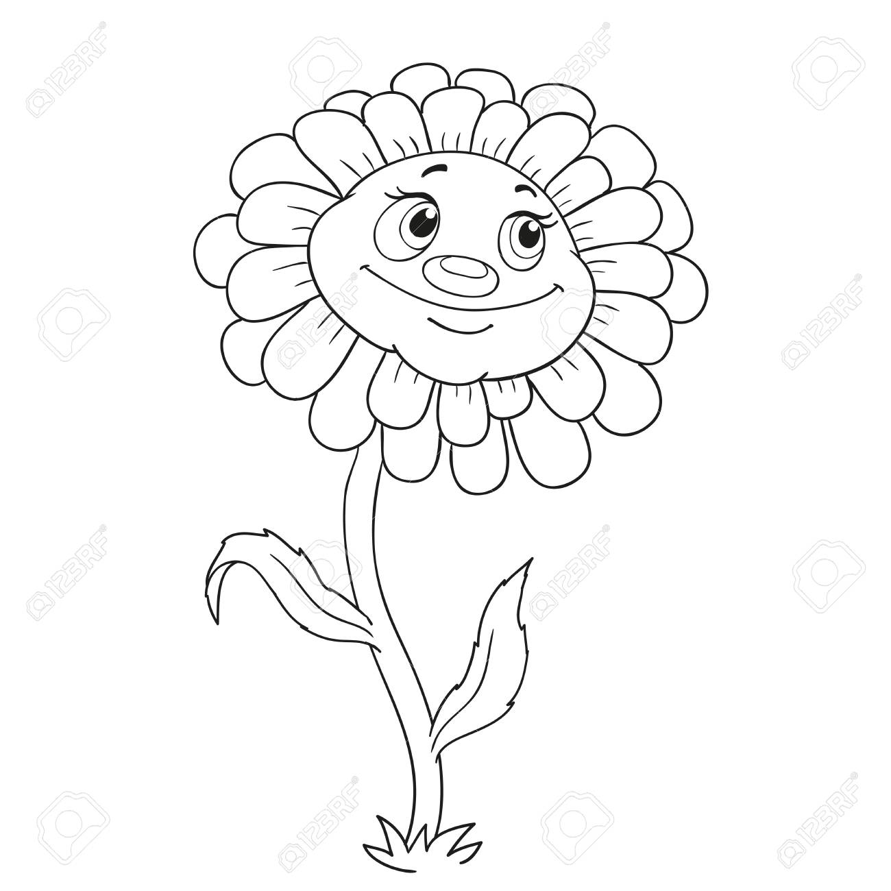 Cartoon character flower. Funny daisy for coloring book.