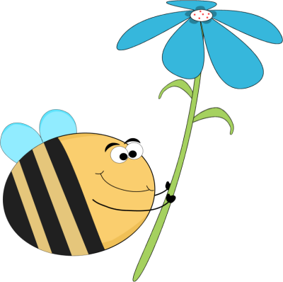Funny Bee with a Blue Flower.