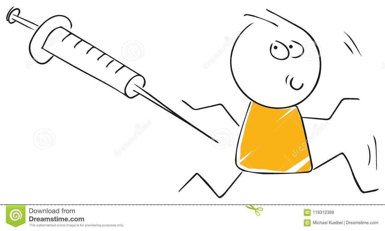 Funny Stickman Illustration Flu Vaccination Shot Patient Stock.
