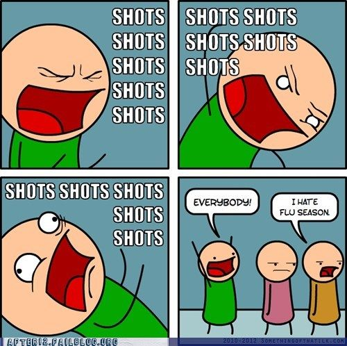 Tears while receiving the flu shot at Walgreens? Pathetic.