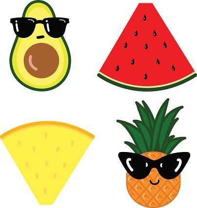 Set Cartoon Funny Food premium clipart.