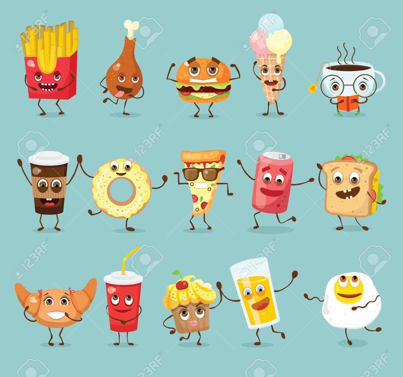 Cartoon funny food characters illustrations..