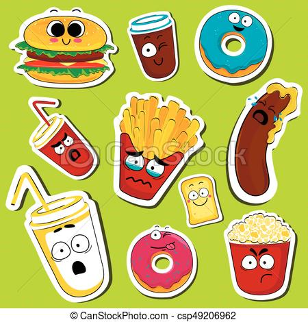 Cartoon fast food cute character face stickers..