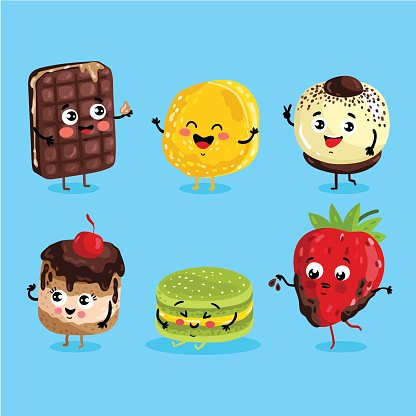Funny Sweet Food Characters Cartoon Isolated premium clipart.