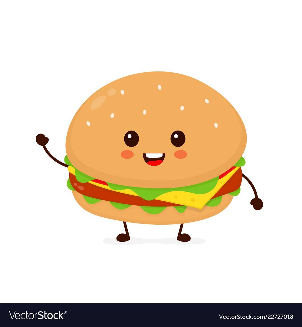 Happy smiling funny cute burger vector image.