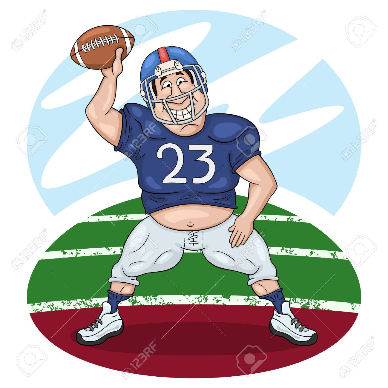 Funny cartoon american football player dancing with a ball in...