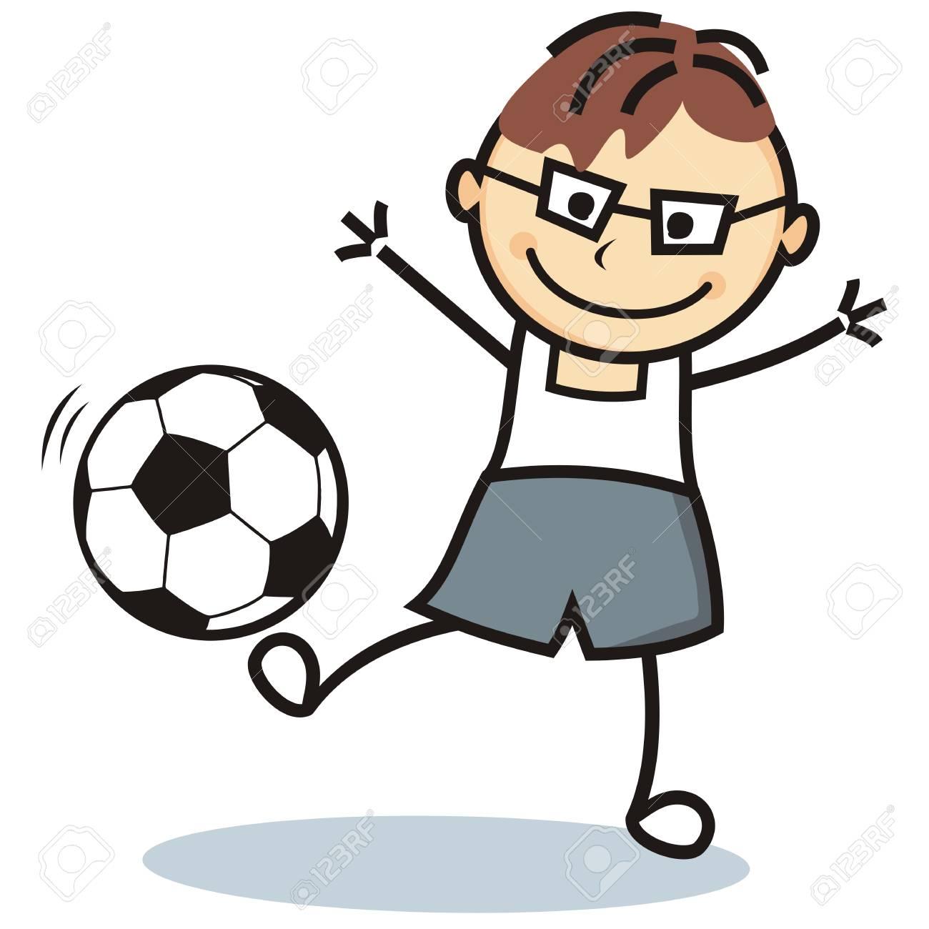 Football player, soccer ball, vector icon, funny illustration.