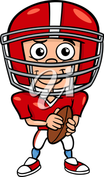Cartoon Illustration of Funny Boy American Football Player with Ball.