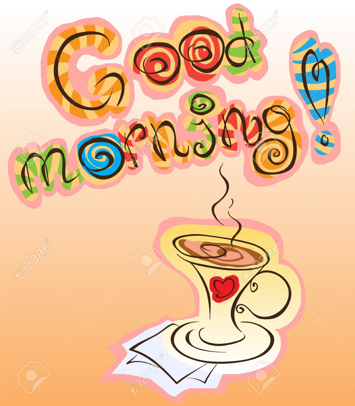 good morning inscription and cup of coffee, vector funny abstraction.