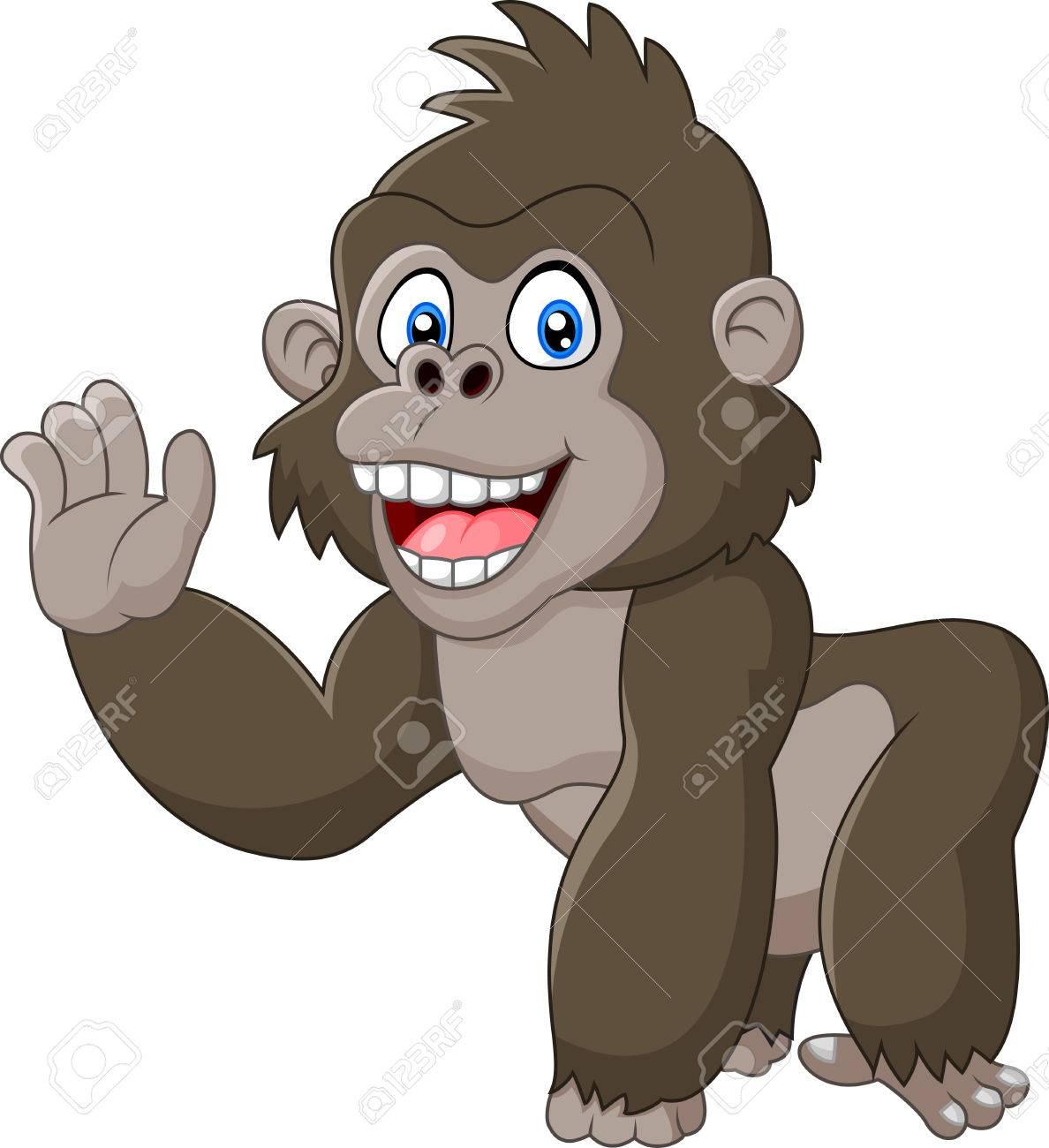 Funny gorilla waving hand.