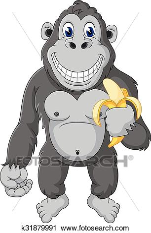 Funny gorilla cartoon Clipart.