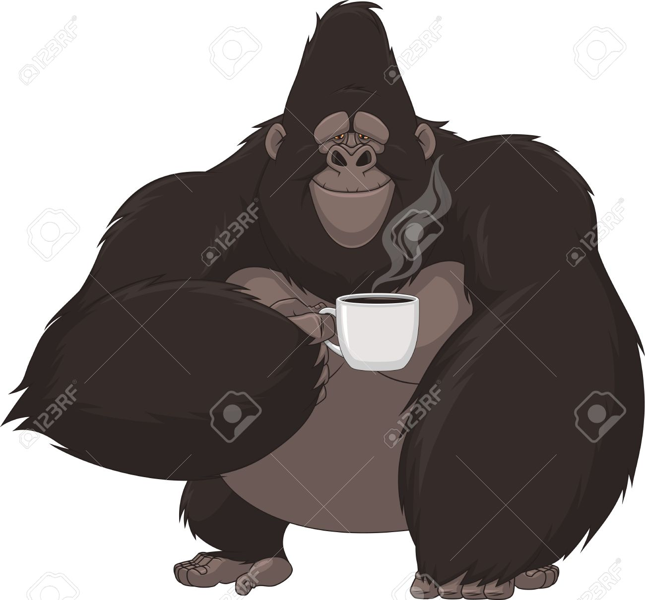 Vector illustration, funny gorilla with a mug of coffee.