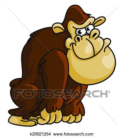 Gorilla Funny Cartoon Clipart.