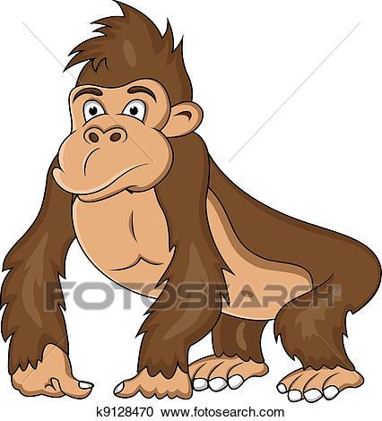 Funny gorilla cartoon Clipart.
