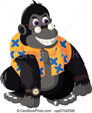 funny gorilla cartoon sitting with smiling.