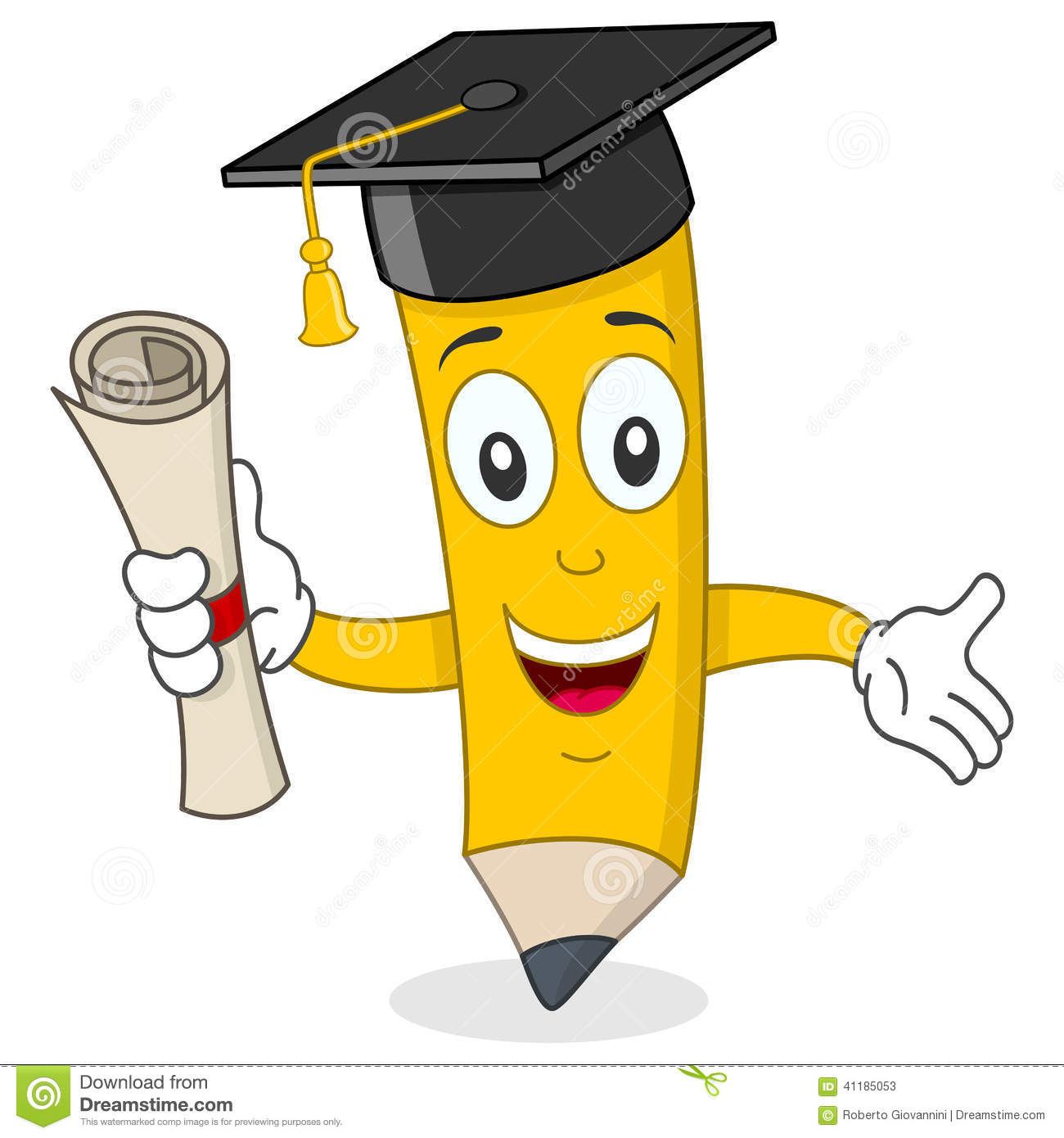 Pencil Character With Graduation Hat Stock Vector.