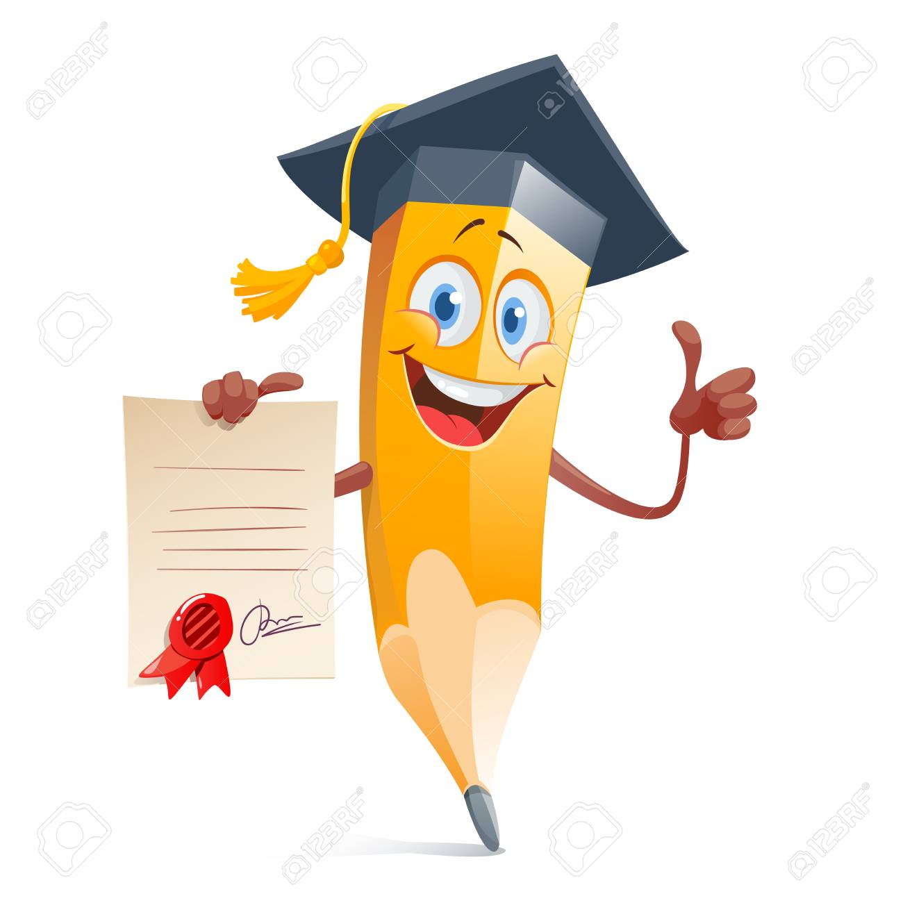 Funny pencil in graduation cap and with diploma certificate..