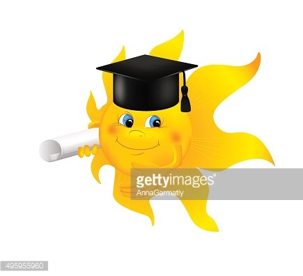 Funny cartoon sun wearing graduation cap Clipart Image.