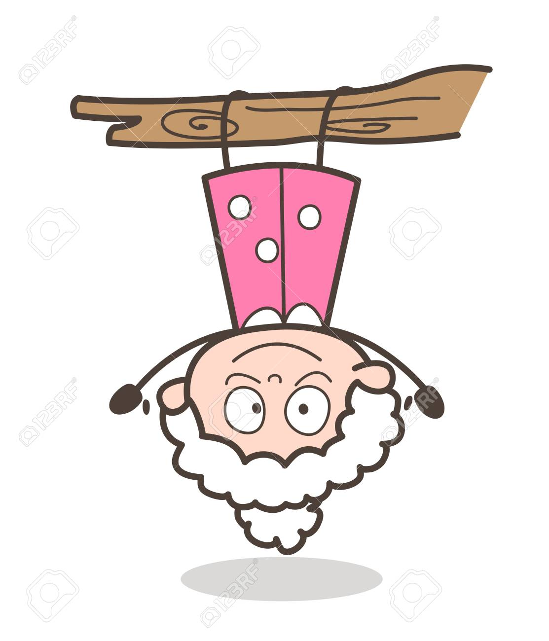Cartoon Funny Granny Hanging Upside Down Vector.
