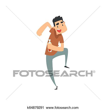 Cheerful drunk man with bottle of alcohol drink in his hand, funny guy  character drinking alcohol and dancing vector Illustration Clipart.