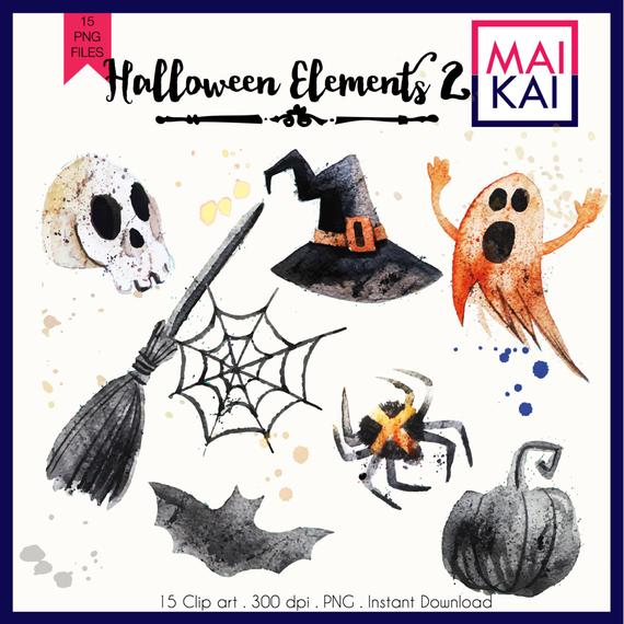 Halloween Clipart Watercolor clip art Pumpkin Witch Cute Halloween clip art  Hand drawn Halloween Cartoon Funny Kids clipart.