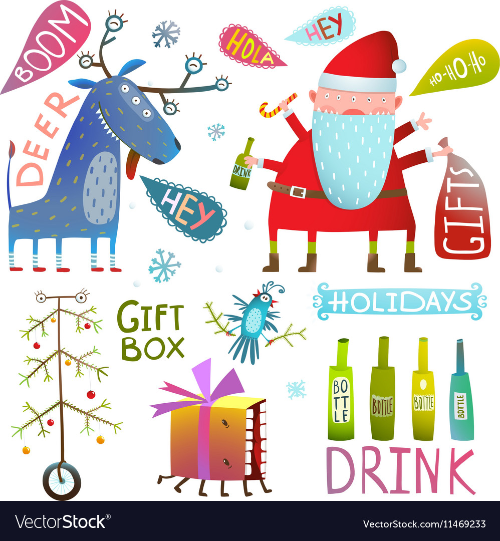 Happy New Year Merry Christmas clip art collection.