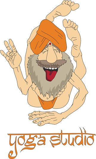 Funny Indian Yogi Man Clipart Image.