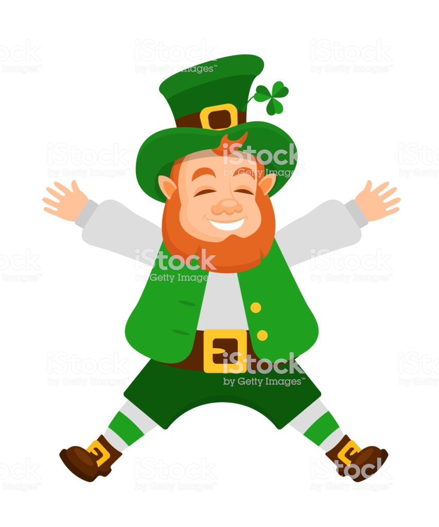 Funny Irish Fantastic Character Leprechaun Laughs Bouncing Up Stock.