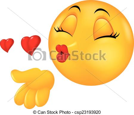 Vector Clip Art of Kissing emoticon cartoon.