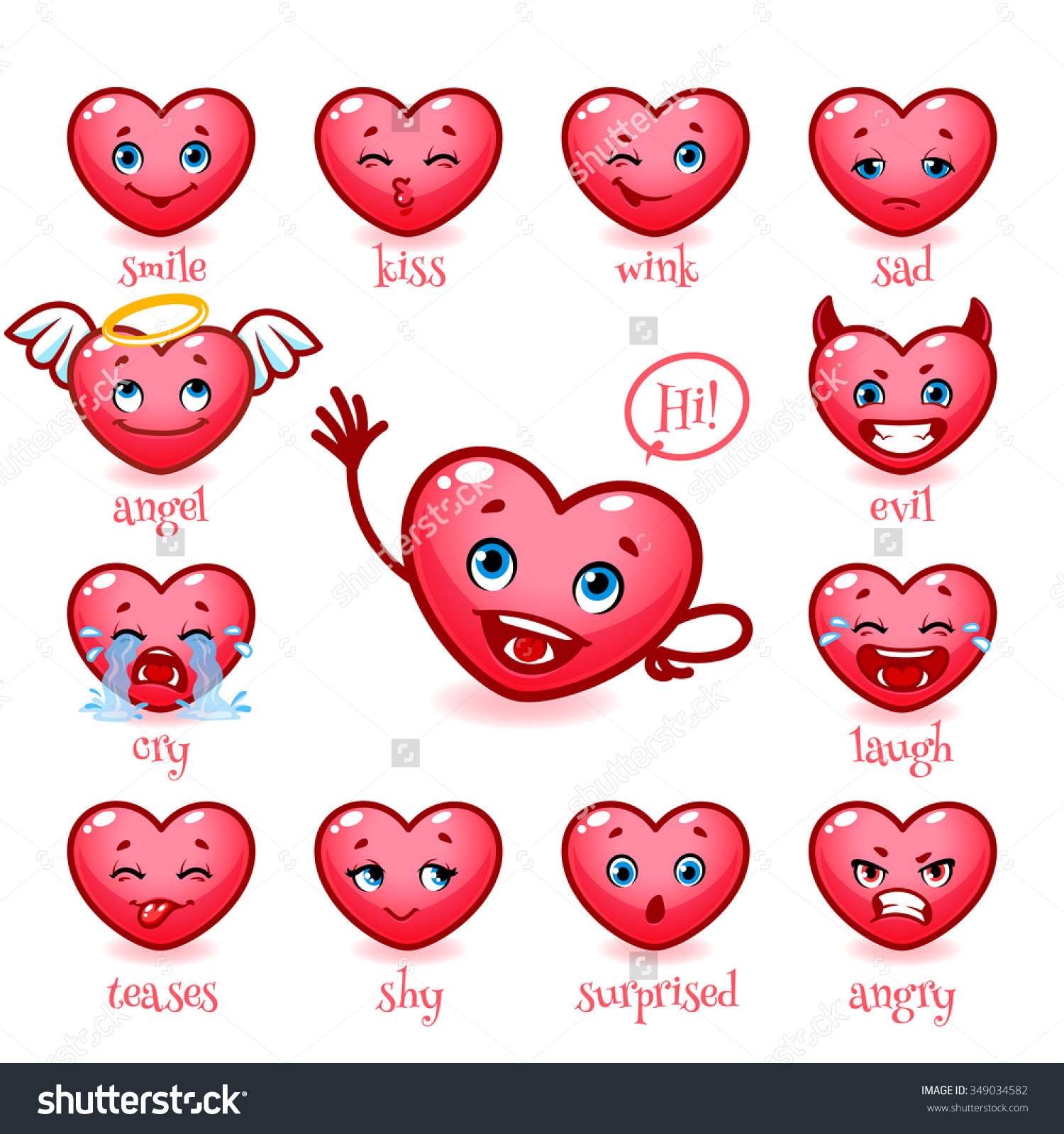 Set Emoticons Funny Heart Valentines Day Stock Vector 349034582.