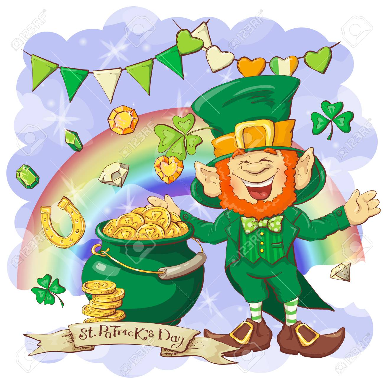 Creative illustration of funny Leprechaun for St. Patrick's Day...