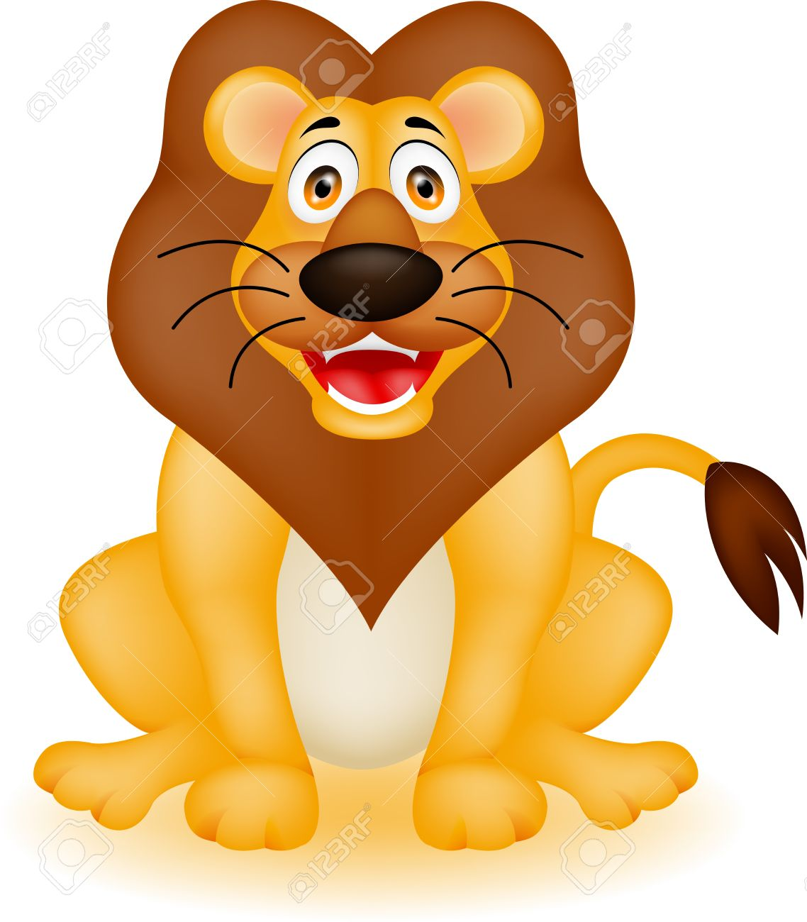 Vector Illustration Of Funny Lion Cartoon Royalty Free Cliparts.