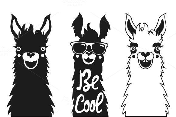 Funny hipster typography llama set by julymilks on.