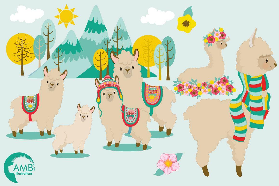 Llama fun clipart, graphics, illustrations AMB.