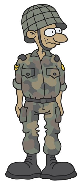 Funny Soldier Stock Vector.