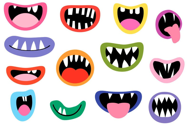 Monster mouths clipart set Funny face element Silly alien teeth clip art  Ugly Halloween lips Party decoration Photo booth props Scrapbooking.