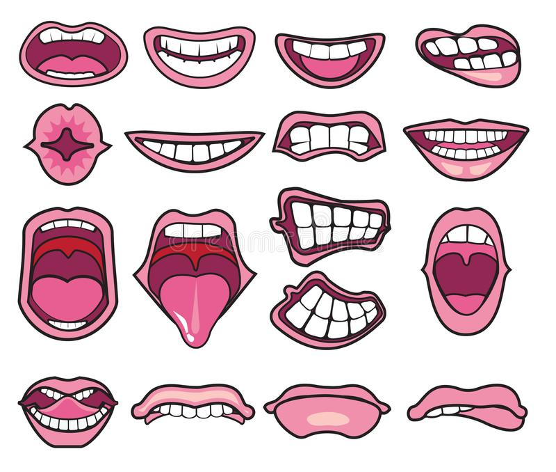 Funny Mouths Stock Illustrations.