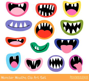 Funny monster mouths clipart, Silly ugly Halloween alien face elements teeth.
