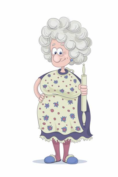 Best Funny Old Lady Illustrations, Royalty.